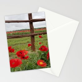 Poppies with Cedar Fence Stationery Cards