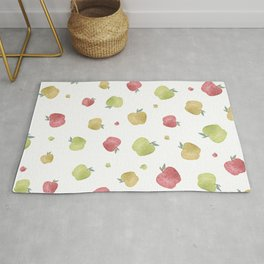 Multicolored falling down apples Rug