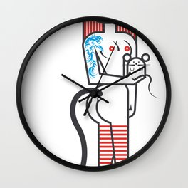 Cat girl and fat mouse Wall Clock