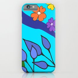 Abstract Flowers on Aqua iPhone Case