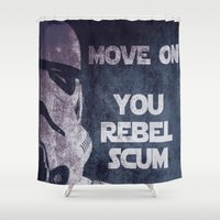 storm trooper Shower Curtains featuring Storm Trooper Grunge Move Out by Freak Shop | Freak Products