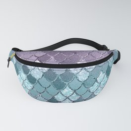 Mermaid Scales Navy Blue Teal Purple Glam #1 #shiny #decor #art #society6 Fanny Pack