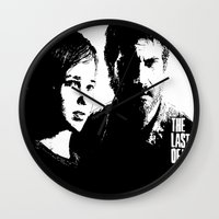 the last of us Wall Clocks featuring The Last of Us  by Black And White Store