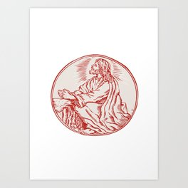Jesus Christ Agony in the Garden Etching Art Print