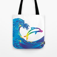 hokusai Tote Bags featuring Hokusai Rainbow & dolphin_C by FACTORIE
