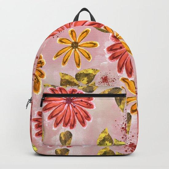 Pink, orange flowers. Backpack
