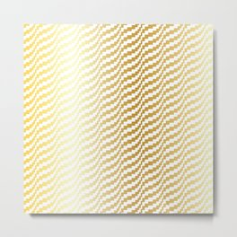 Gold Bargello Wavy Stripe Metal Print