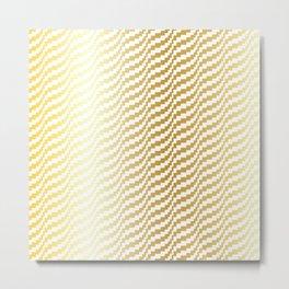 Gold Bargello Wavy Stripe Metal Print