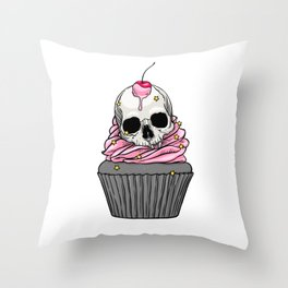 Skull Cupcake with pink cream, cherry and yellow stars Throw Pillow