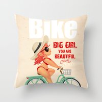 bike Throw Pillows featuring BIKE by melivillosa