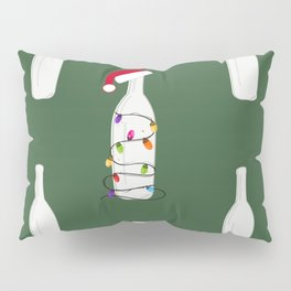 Christmas champagne bottle with Christmas light bulb. Happy new year pattern green background Pillow Sham