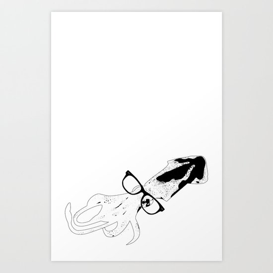 Other Hipster Squid! Art Print