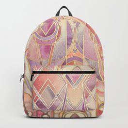 Glowing Coral and Amethyst Art Deco Pattern Backpack