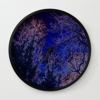 psychadelic Wall Clocks featuring Psychadelic trees frame the moon by Cheryl - DevilBear Photography