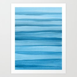 Blue Watercolor Lines Art Print