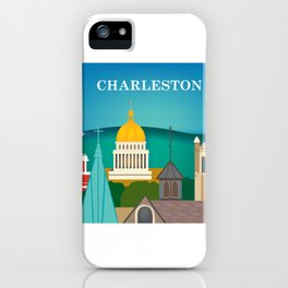Charleston, West Virginia - Skyline Illustration by Loose Petals iPhone Case