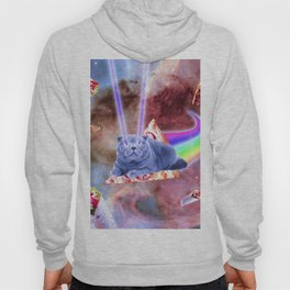 Laser Eyes Space Cat Riding Rainbow Pizza Hoody