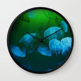 Moon Jellyfish - Blue and Green Wall Clock