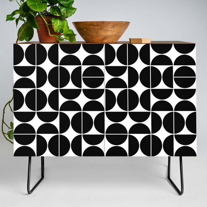 Modern Credenza Cupboard | Mid Century Modern Geometric 04 Black by The Old Art Studio - Black - Walnut - Society6