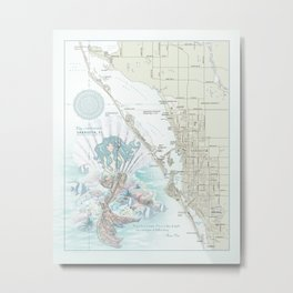"Sarasota ""Anais Nin"" Mermaid quote area map Metal Print"