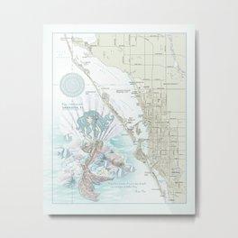 "Sarasota ""Anais Nin"" Mermaid quote area map Metal Print"