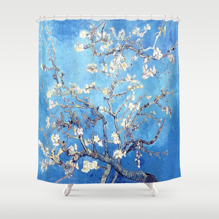 Vincent Van Gogh Almond Blossoms Sky Blue Shower Curtain