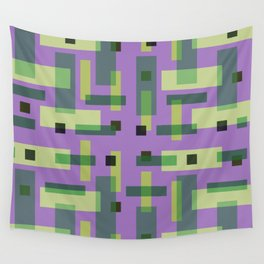 Purple, Green and Yellow Block City Wall Tapestry