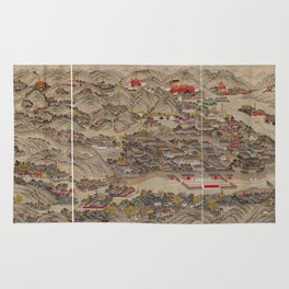 Panoramic view of the Rehe Imperial Palace between 1875-1900 [Rehe xing gong quan tu] Rug