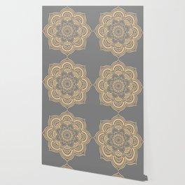 Mandala Flower Gray & Peach Wallpaper