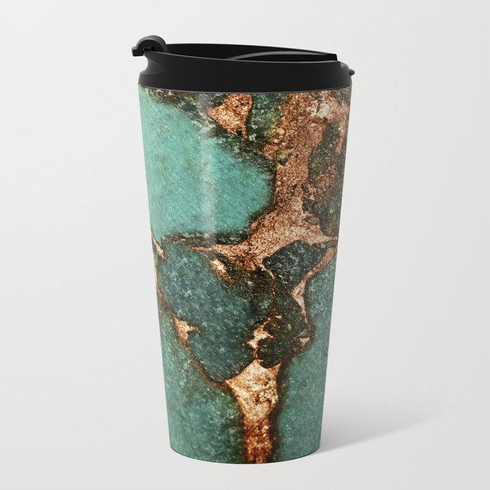 EMERALD AND GOLD Metal Travel Mug