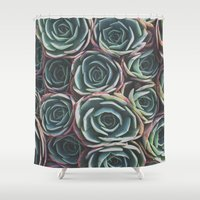 succulents Shower Curtains featuring SUCCULENTS by The Pixel Gypsy