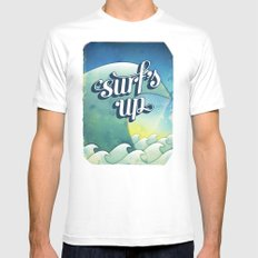 Surf's Up White Mens Fitted Tee MEDIUM