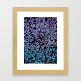 Tangled Tree Branches in Blue and Teal Framed Art Print