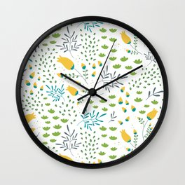 Fresh Flowers Pattern Wall Clock
