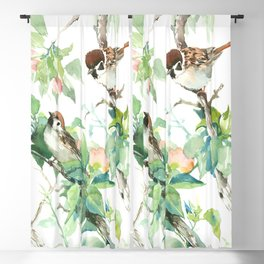 Sparrows And Apple Blossom, bird art Sage, teal green Vintage style floral bird art Blackout Curtain