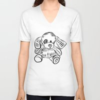 puppy V-neck T-shirts featuring Puppy by Omar Sangiovanni
