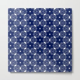 Shibori Stars (white and dark blue) Metal Print
