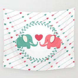 Elephant Love with Arrows Wall Tapestry