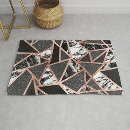 Modern Rose Gold Glitter Marble Geometric Triangle Rug