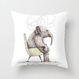Sitting Elephant - Elefante Sentado Throw Pillow