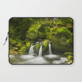 Stone bridge and waterfall in Luxembourg Laptop Sleeve