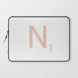 Pink Scrabble Letter N - Scrabble Tile Art and Accessories Laptop Sleeve