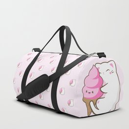 Ice cream lover chubby cat pattern Duffle Bag