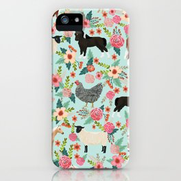 Farm animal sanctuary pig chicken cows horses sheep floral pattern gifts iPhone Case