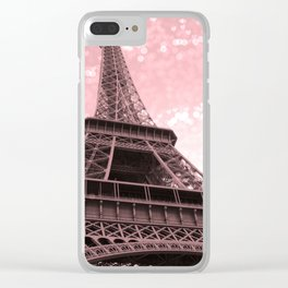 Paris Pink Eiffel Tower Clear iPhone Case