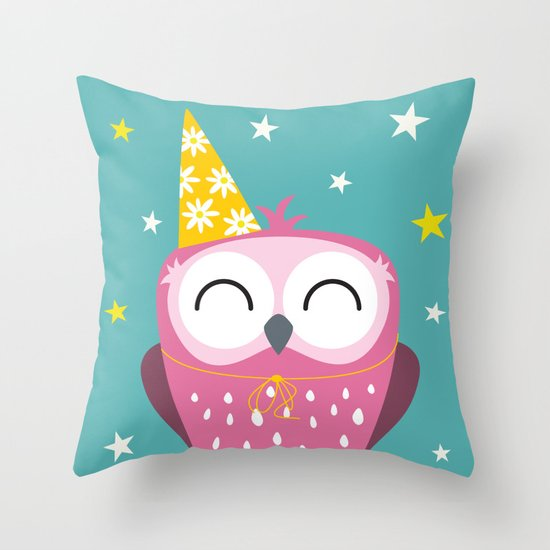 Party Owl Throw Pillow
