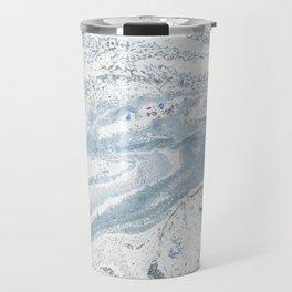 Blue gray abstract marble Travel Mug