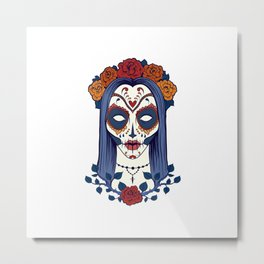 Female Sugar Skull Metal Print