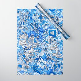 Delft Blue and White Pattern Painting with Lions and Tigers and Birds Wrapping Paper