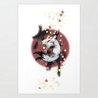 okami Art Prints featuring Okami Amaterasu by becka_miller